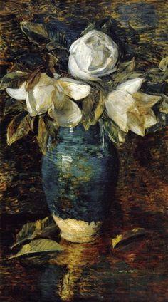 Frederick Childe Hassam- Giant Magnolias (1904) stil-life
