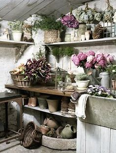 A potting bench for the garage or barn. In bad weather,  it would be a place to play in the dirt.