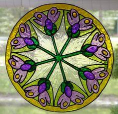 Flores de lavanda y violeta mandala ventana transparente