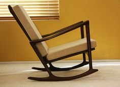 Danish Rocking Lounge Chair Mid century Modern Eames Selig Ib Kofod Larsen