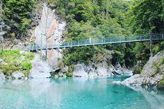 Bridge across the Blue Pools in Haast