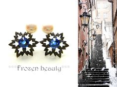 Hand-made snowflake earrings (swarovski elements/gun metal base/natural white pearls)Blue/White/Black