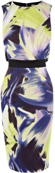 Karen Millen Dramatic Modern Ethnic Print Dress in Multicolor (purple) - Lyst