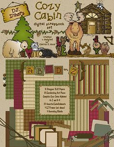 Tis the season to cozy-up & create a smile... so you can download this set for 25% off! Snuggle-up to DJ's warm & inviting 'Cozy Cabin' digital scrapbooking download!  Simply perfect for camping, hiking, cabin, fishing & holiday memories. (sale ends Christmas day!)