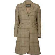 Women's Barbour Carter Covert Coat - Mid Olive (£330) ❤ liked on Polyvore featuring outerwear, coats, olive coat, flared coat, brown tweed coat, barbour and olive green coat