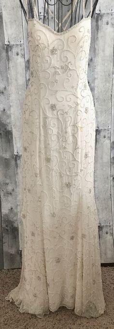 Fleur de Lis Silk Beaded Sequin Gown Dress Satin Bra Formal Bridal White Bling 8 #FleurdeLis #BeadedGown #BridalFormal