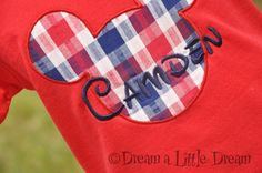 Mickey Mouse Plaid BOYS appliqued tshirt by dreamalittledream10, $20.00