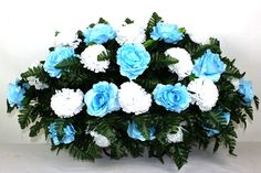 XL Beautiful Baby Blue Roses and White Carnations Cemetery Tombstone Saddle Arrangement by Crazyboutdeco on Etsy