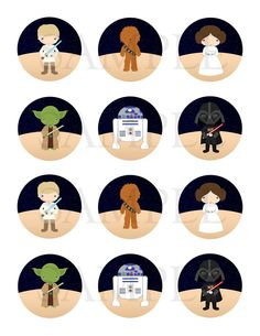 Star Wars inpired. Stickers, Cupcake Topper, Tags. Star Wars inspired Birthday Party. Digital file on Etsy, $2.50