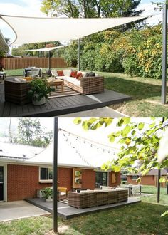 12 creative & attractive shade structures & patio cover ideas such as DIY friendly fabric canopy, shade sails, simple pergolas, vines for sun shades, etc! Patio Shade Covers, Deck Shade, Sun Sail Shade, Backyard Shade, Outdoor Shade, Outdoor Pergola, Pergola Shade, Backyard Patio, Backyard Landscaping