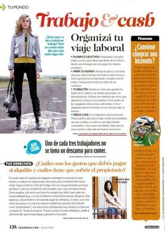 Revista Cosmopolitan  Tips para organizar el viaje laboral  (Julio de 2012)