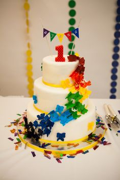 Beautiful rainbow cake at a colorful birthday party!