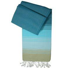 Hamamtuch / Pestemal / Turkish Towel Kim - türkis mit hellblau