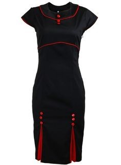 Black Double Kick Pleat with Red Buttons and Trim Pinup 1950s Rockabilly Pencil Womens Dress - super cute retro vintage inspired style