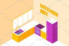 Vector isometric kitchen set by Ponomariova on @creativemarket