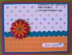 Barb Stamps: New Scallop Edge Punch makes Ric Rac in Any Color [Ric Rac Border Strips] Punch Art Cards, 3d Cards, Ribbon Cards, Rack Card, Card Making Techniques, Flower Cards, Felt Flowers, Cardmaking, Gift Tags