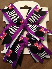 NEW ribbon spike ZEBRA-MICKEY / MINNIE MOUSE hair bows......SET of 2