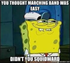 I think this is the look that every newbie to the band gets at the end of the first day of band camp lololll
