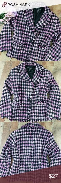 """Plaid Jacket Woven Plaid Single Button Fringed XL See all 7 photos. Adorable fringed single button jacket. Woven pink and black with fringed edges. Fully lined. Like new condition. Smoke free.    Size XL Chest 21"""" across Sleeve 21.5"""" from shoulder to cuff  Length 23"""" from neck to bottom edge  Waist 19.5"""" across   Ct6 SilkLand Jackets & Coats"""