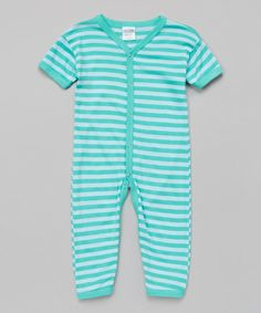 This Mint Green Stripe Playsuit - Infant by Luca Charles is perfect! #zulilyfinds