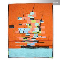 Beacons cartographic map art quilt by Paula Kovarik