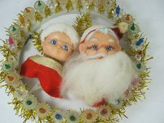 Vintage SANTA WREATH Retro Christmas by LavenderGardenCottag