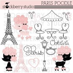 Paris Poodle Personal and Commerical Use Clipart Set - Instant Download. $5.00, via Etsy.