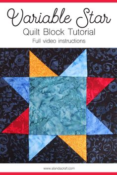 Quilt block patterns made easy with step-by-step instructions. This is the Variable Star quilt block pattern and is quite an easy one to put together. Simple and fast. Quilting For Beginners, Quilting Tutorials, Quilting Projects, Quilting Designs, Sewing Projects, Quilt Square Patterns, Pattern Blocks, Square Quilt, Quilt Blocks Easy