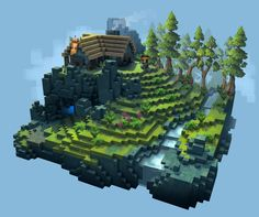 Environment Concept by Bryn Williams on ArtStation. Minecraft Plans, Minecraft Blueprints, Minecraft Designs, Minecraft Creations, Isometric Art, Isometric Design, Minecraft Architecture, Minecraft Buildings, Environment Concept Art
