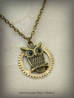 Cute Steampunk Pendant with Owl Vintage Clock Gear by Vilindery, $10.00