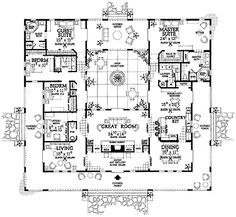 Mediterranean Style House Plan - 4 Beds 3.5 Baths 3163 Sq/Ft Plan #72-177  sc 1 st  Pinterest & 27 Best Central interior courtyard house plan images | Rustic homes ...