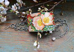 Vintage Tin Bracelet Cherry Blossom by crazyfoxstudio on Etsy