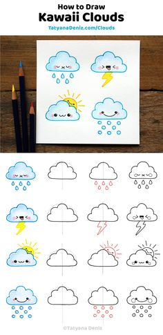 Learn how to draw kawaii clouds 4 different ways with this easy step-by-step tutorial. Great to draw with kids, add to bullet journals, and use for DIY craft projects. Kawaii clouds and drawing tutorial by Tatyana Deniz via tatyanadeniz Easy Pencil Drawings, Easy Doodles Drawings, Easy Drawings For Kids, Simple Doodles, Drawing For Kids, Drawing Ideas, Drawing Tutorials For Kids, Sketching For Kids, Drawing Tips