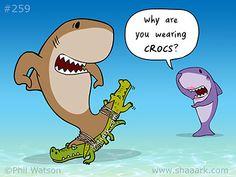 Wearing Crocs