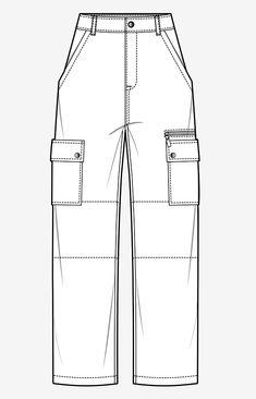 Bag Tutorial and Ideas Flat Drawings, Flat Sketches, Fashion Design Drawings, Fashion Sketches, Custom Clothes, Diy Clothes, Fashion Templates, Design Templates, Pantalon Cargo