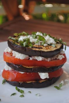 I've eaten this in a italian restaurant. They called it Eggplant Napolean. And they drizzeled olive oil and balsamic vinegar on it. Not just delicious....orgasmic!    Grilled Eggplant and Goat Cheese Stacks   Fat Girl Trapped in a Skinny Body