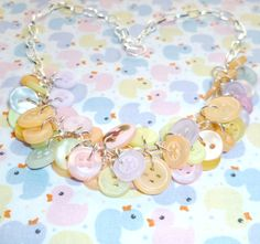 Sugar Coated Almonds Button Charm Necklace  by NiNEFRUiTSPiE, £7.00