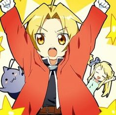 ( ^ω^ ) so cute! ED AL AND WINRY CHIBI. FMA. FULLMETAL ALCHEMIST. ANIME. Pinned from Stephy Sama
