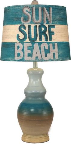 Sun Surf Beach Table Lamp: http://www.completely-coastal.com/2016/07/beach-decor.html .... Capturing the Memory of Lazy Days Spent at the Beach!