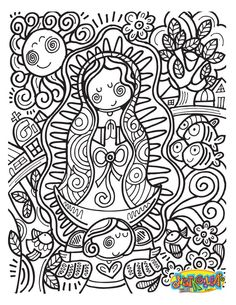 our lady of guadalupe coloring page. free printable on catholic ...