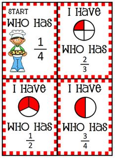 Fractions 'I have, who has?' This is a great way of teaching fractions for guided practice. Teaching Fractions, Math Fractions, Teaching Math, Equivalent Fractions, Math Resources, Math Activities, Math Games, Math School, Second Grade Math