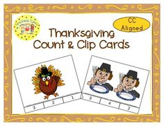 These cards are terrific for Math Centers – A Hands-On Activity your kiddos will love! Thanksgiving Clip Cards allow learners to practice counting. There are 12 clip cards. On each card is a set of pictures to count and a choice of three numerals. Learners count the pictures in the set and clip a clothespin to the numeral that corresponds with the number of pictures in the set.