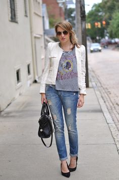 classic - ripped jeans + structured blazer + heels + bling = perfect day outfit