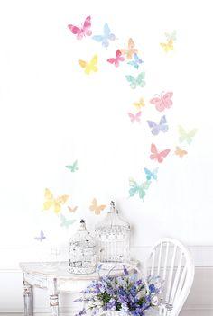 Aquarelle papillons mur amovible autocollant par verryberrysticker