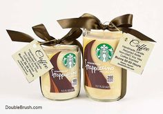 Coffee Decor Coffee Kitchen Bar Starbucks Candle Set of 2 Frappuccino Coffee Recycled Bottle Soy Candles Scented with Coffee Fragrance