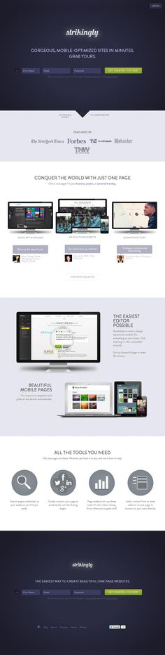 Strikingly - Create Free One Page website in minutes Simple Blog, Simple Website, Web Development Tools, Design Development, Concours Design, Making Your Own Website, Best Landing Pages, Web Design Trends, Design Web