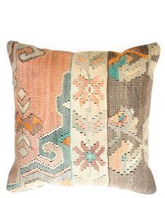 "16"" Kilim Pillow, Sugared Pastel Christian Rathbone, Brooklyn reclaimed vintage kilm rugs $95"