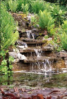 My first attempt at a garden pond/waterfall. Rock Waterfall, Garden Waterfall, Waterfall Taps, Outdoor Water Features, Water Features In The Garden, Outdoor Waterfalls, Pond Liner, Pond Fountains, Ponds Backyard