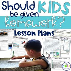 Structured opinion writing lessons on the whether or not kids should be given homework. High-interest topics for kids to write about.