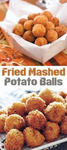 Fried Mashed Potato Balls Ingredients 3 c. leftover mashed potatoes 3 slices bacon, cooked and crumbled Fried Mashed Potato Balls Ingredients 3 c. leftover mashed potatoes 3 slices bacon, cooked and crumbled Fried Mashed Potato Patties, Mashed Potato Balls Recipe, Fried Mashed Potatoes, Leftover Mashed Potatoes, Mashed Potato Recipes, Thanksgiving Mashed Potatoes Recipe, Mashed Potato Bar, Mashed Potato Casserole, Potato Cakes